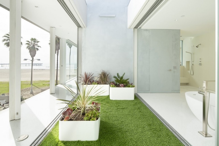 Terrace with grass in Modern mansion on the beach by Dan Brunn