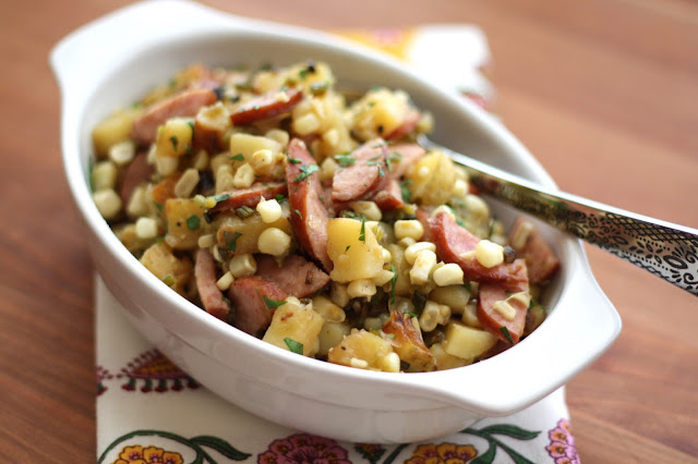 Garlicky Potato, Kielbasa and Green Chile Skillet recipe by Barefeet In The Kitchen