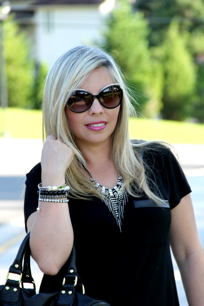 Black Top - TJ Maxx, Accessories - Boy Meets Girl, Joseph Nogucci and some for my closet, Necklace - Nordstrom, Black Onyx and Silver Ring - David Yurman, Angled Enamel Sunglasses - Marc Jacobs, Bag - Steve Madden via Nordstrom Rack, Revlon Fuchsia Shock 815 and Super Lustrous Lipgloss Pink Pop