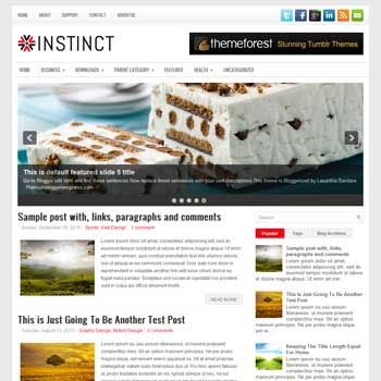 Instinct blog template. download 3 column blogger template style. magazine template blogspot