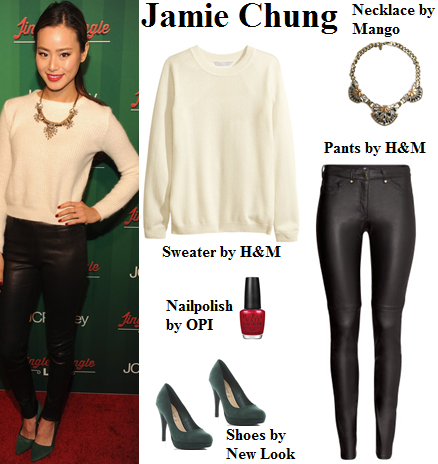 jamie chung, christmas, sweater, leather pants