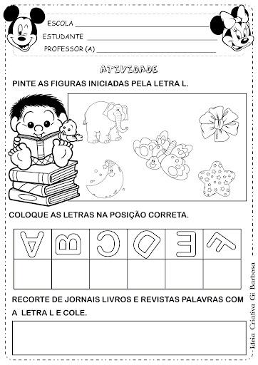 Atividade Letra L Educação Infantil