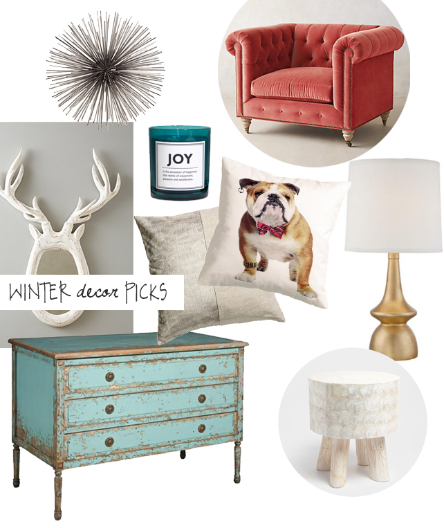Winter home decor picks from interior designer Lesley Myrick. #interiordesign #designtrends #winterdecorating #design #inspiration