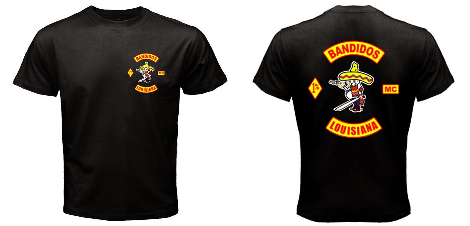 Bandidos Louisiana MC Black T-shirt Double  Side