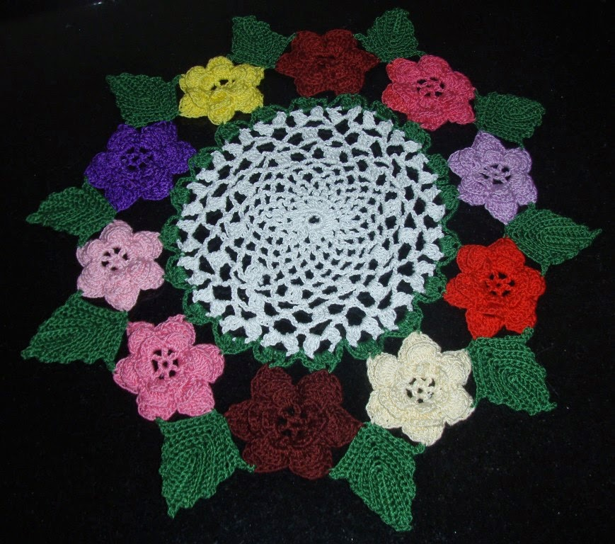 Crochet Stitches Rose : Irish Rose Crochet Doily ~ Free Crochet Patterns