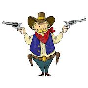 PZ C: dessin animé (cowboy de dessin anime avec six guns isole sur fond blanc)