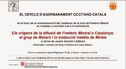 3 d'abril - conferència Mistral