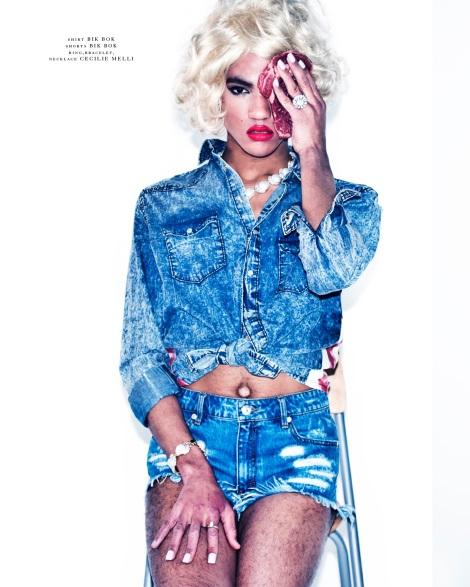 Harold B wears blonde Marilyn wig in Dorian Magazine