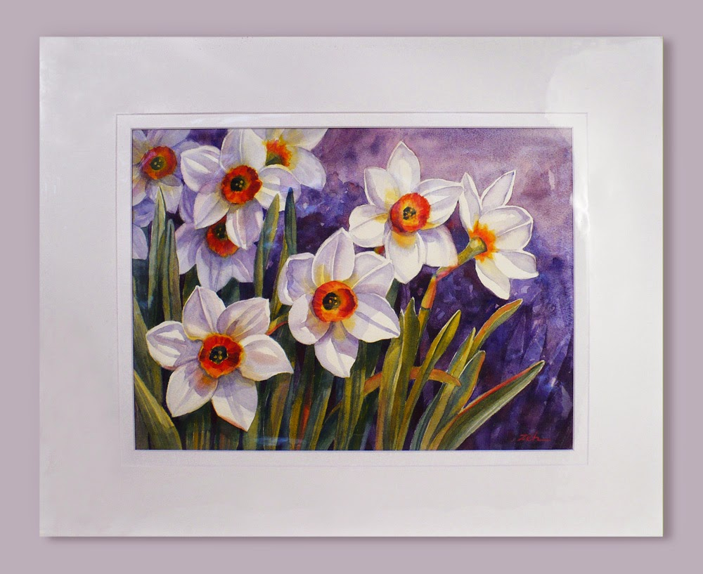 Narcissus Flowers watercolor in acid-free mat