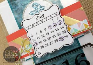 SRM Stickers Blog - A 2016 Birthday Calendar Organizer by Tessa Wise - #minicalendar #2016 #floralbags #stickers #twine #die #DIY