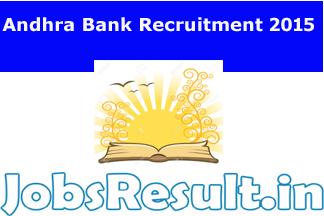 Andhra Bank Recruitment 2015