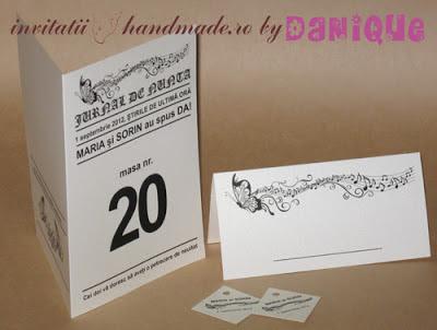 set meniu-placecard nunta tema jurnal de nunta