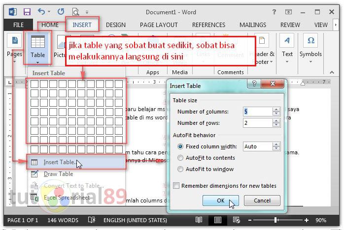 Cara mudah membuat table di ms word
