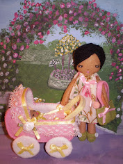 Lady With Baby And Carriage Felt Doll