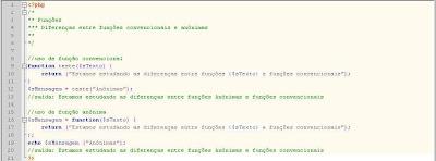 Diferenças entre funções convencionais e funções anônimas