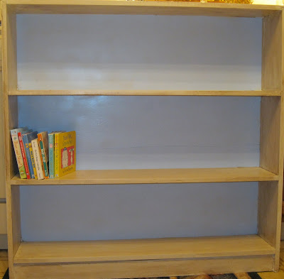book shelf after spray paint