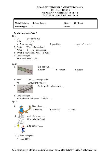 Download Soal Uas Bahasa Inggris Kelas 2 Semester 1 2015 2016 Rief Awa Blog Download