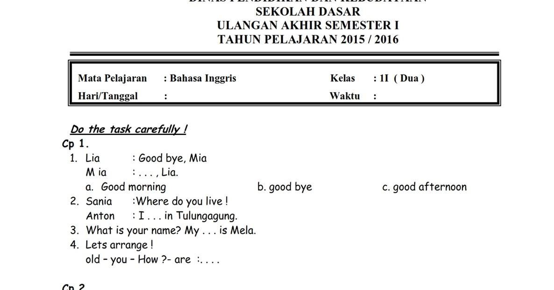 Soal Uas Sd Kelas 6 Bahasa Inggris Soal Bahasa Inggris Sd