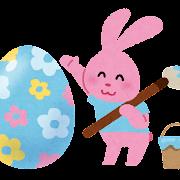 イースターのイラスト「卵に色を塗るうさぎ」