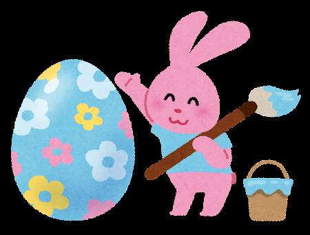 イースターのイラスト「卵と色を塗るうさぎ」