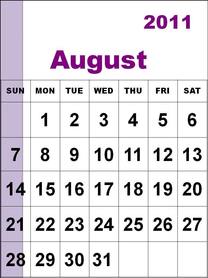 august calendar 2011. diy calendar 2011 August
