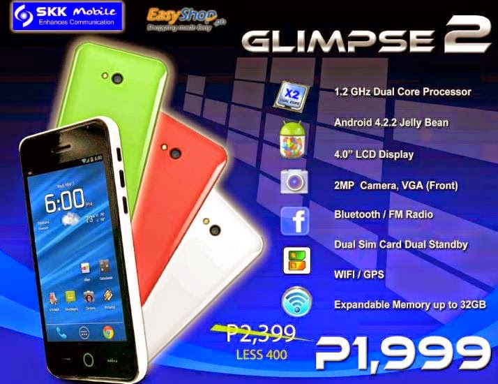 SKK Mobile Glimpse 2, Dual-core Android Phone at Php1,999