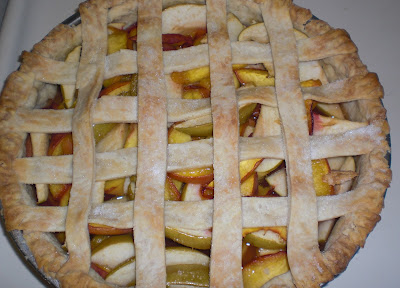 baked pie, peach apple pie, apples, peaches