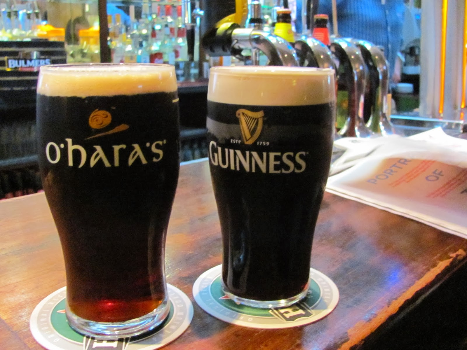 O'Hara's Red and a Guinness at Ashton's in Dublin