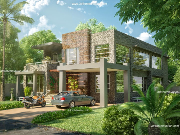 3d front beautiful modern 1 kanal home for Pakistani home plans designs