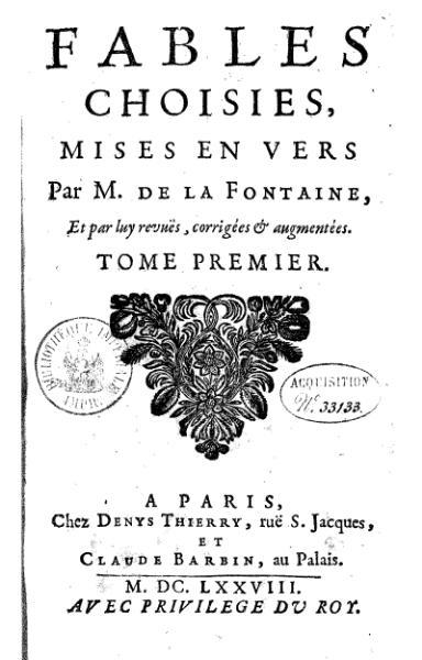 efsd - Histoire des Arts: Les fables de La Fontaine