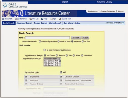 Literature Resource Center screen shot