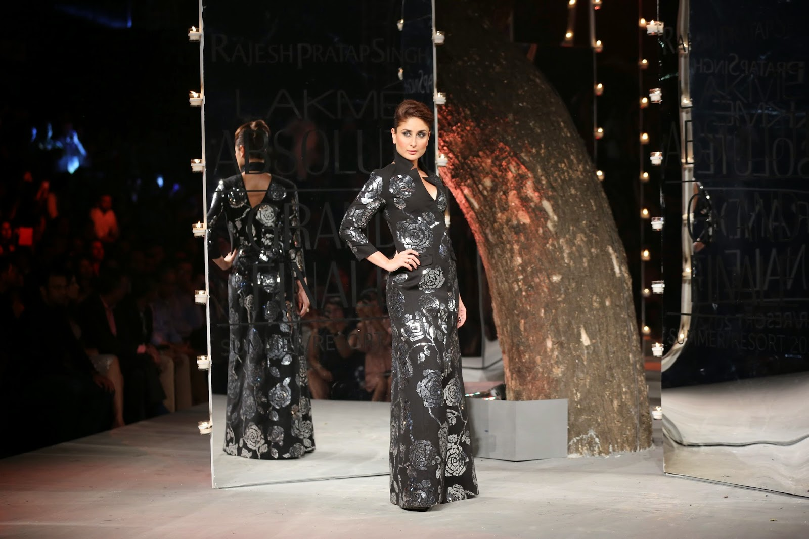 The finale was a burst of fireworks around the ramp as Kareena Kapoor Khan, the brand ambassador of Lakme glided in a fabulous long sleeved V-neck, low back glittering black gown.
