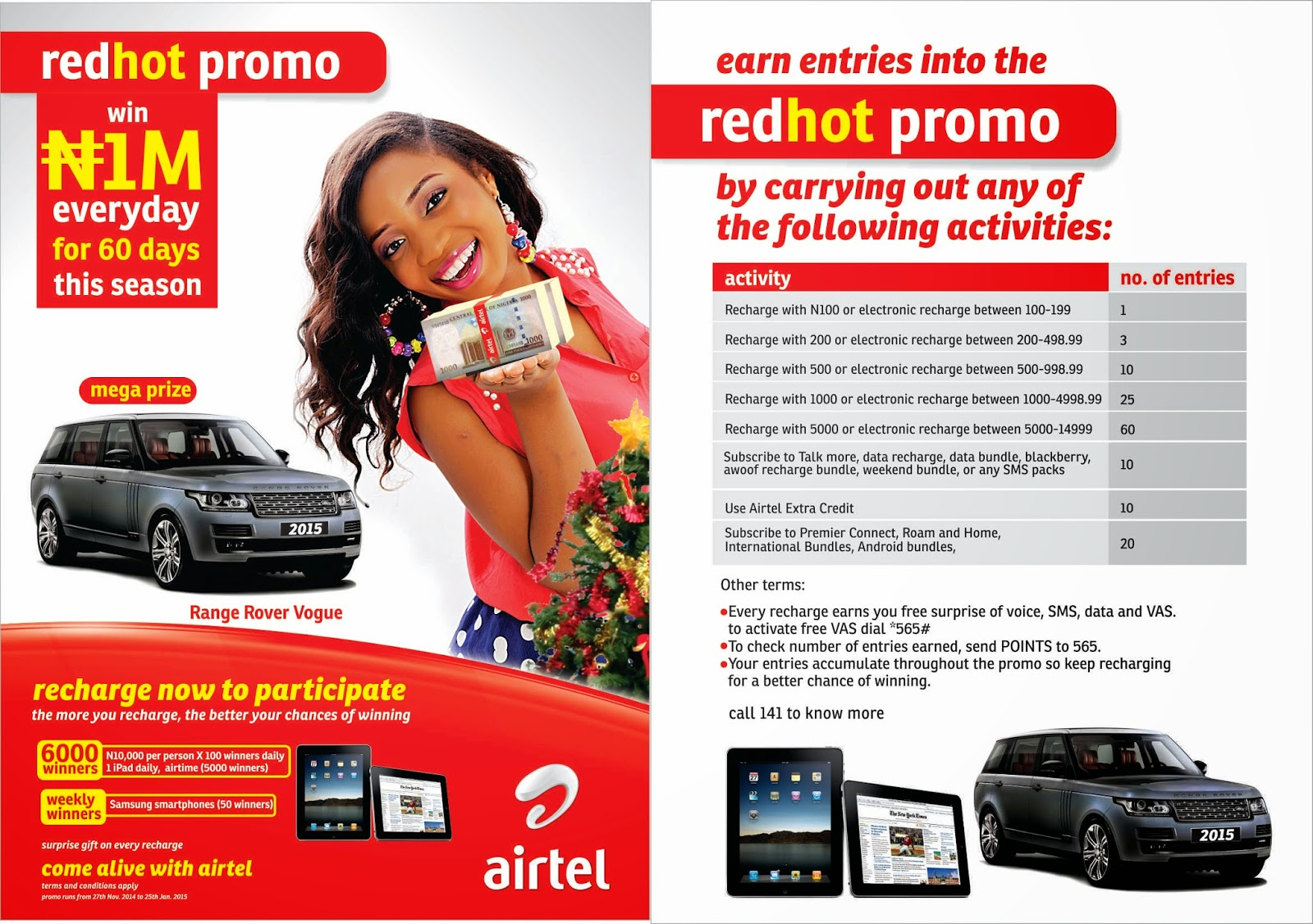 Airtel Red Hot Promo. Win a brand new 2015 Range Rover. N1,000,000 to be won daily for 60 days.
