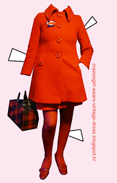 Red woolen coat - Freepstar  Plaid bag - second hand market  Red patent loafers mod vintage 1960 1970 60s 70s