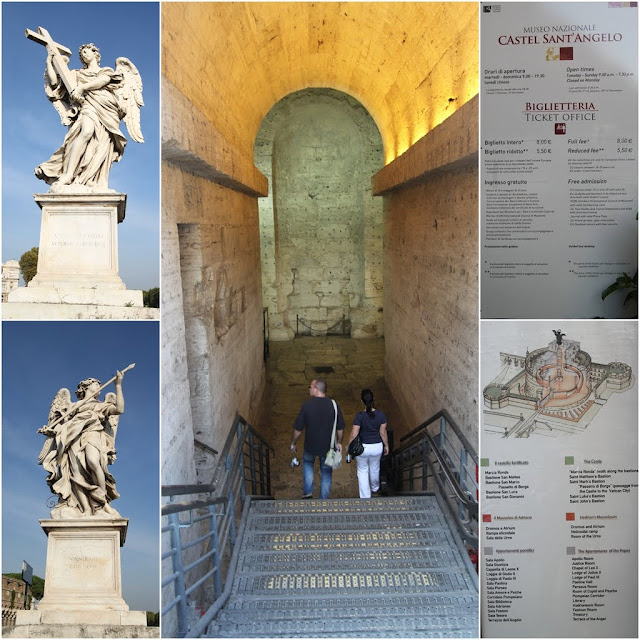 The angel statues and the entrance to the Castel  Sant'Angelo in Rome, Italy