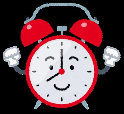 目覚まし時計のキャラクターのイラスト