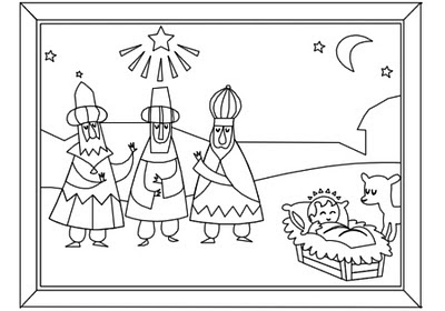 Page 5 - The three wise men and Jesus - for Christmas Activity Coloring Book by Robert Aaron Wiley for Microsoft