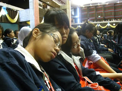 Sam, Jennica, Melissa sleeping inside DTC.