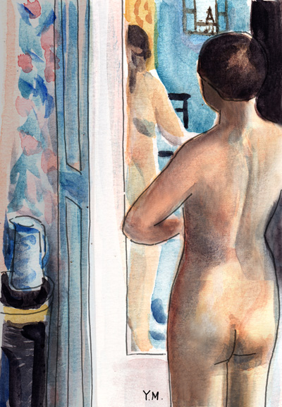 Woman in front of a mirror after Pierre Bonnard by Yukié Matsushita