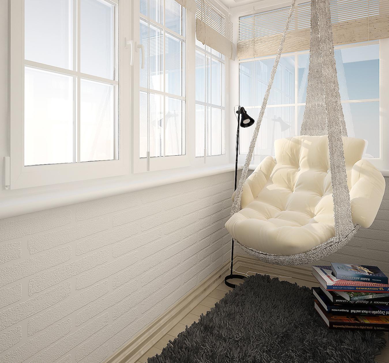 Уголок для отдыха на балконе.