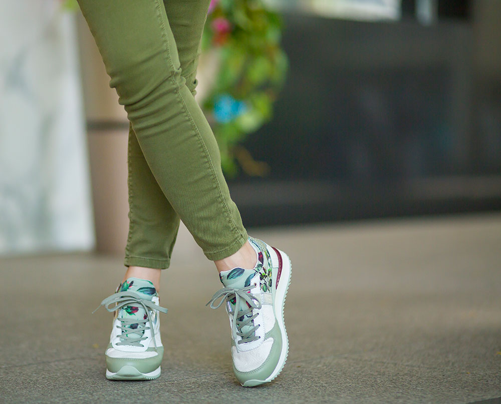 Crystal Phuong- Going green with green denim jeans and Dolce Gabbana sneakers