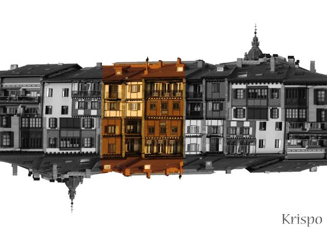 casas del casco viejo suspendidas en el cielo