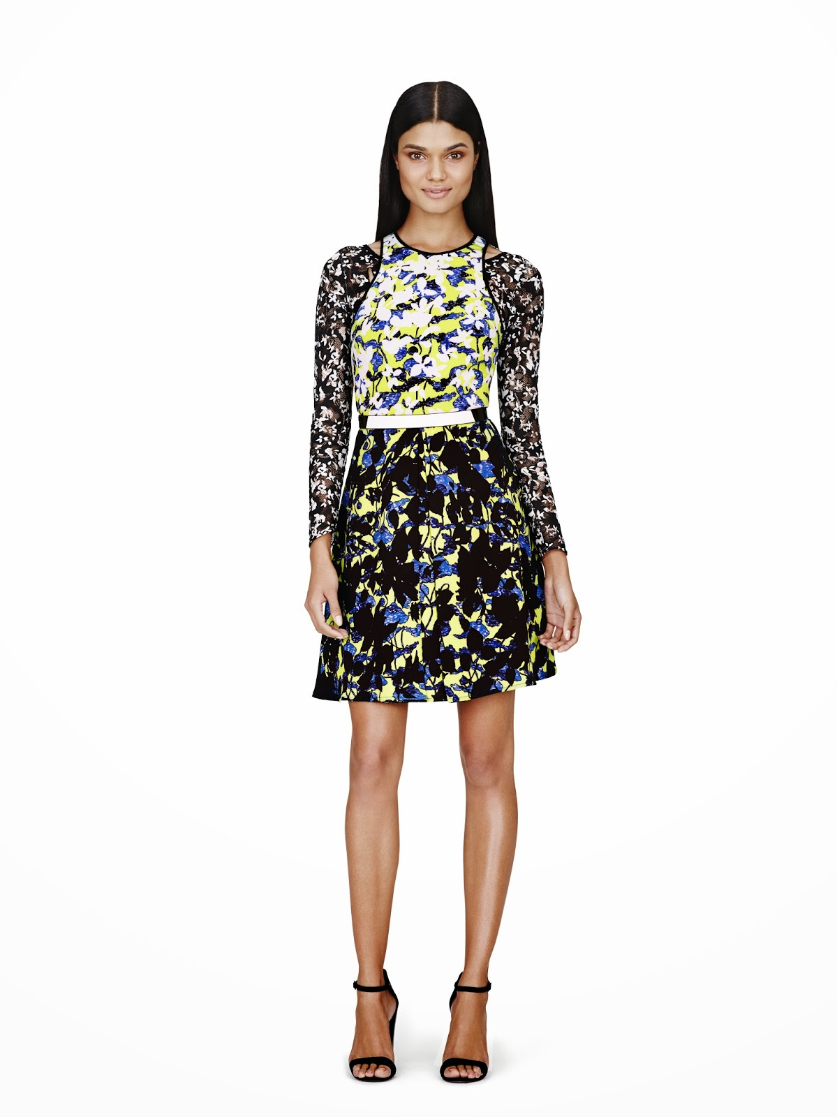 Peter-Pilotto-Target, Floral-dress-shirt, yellow-black, Spring-Summer-2014