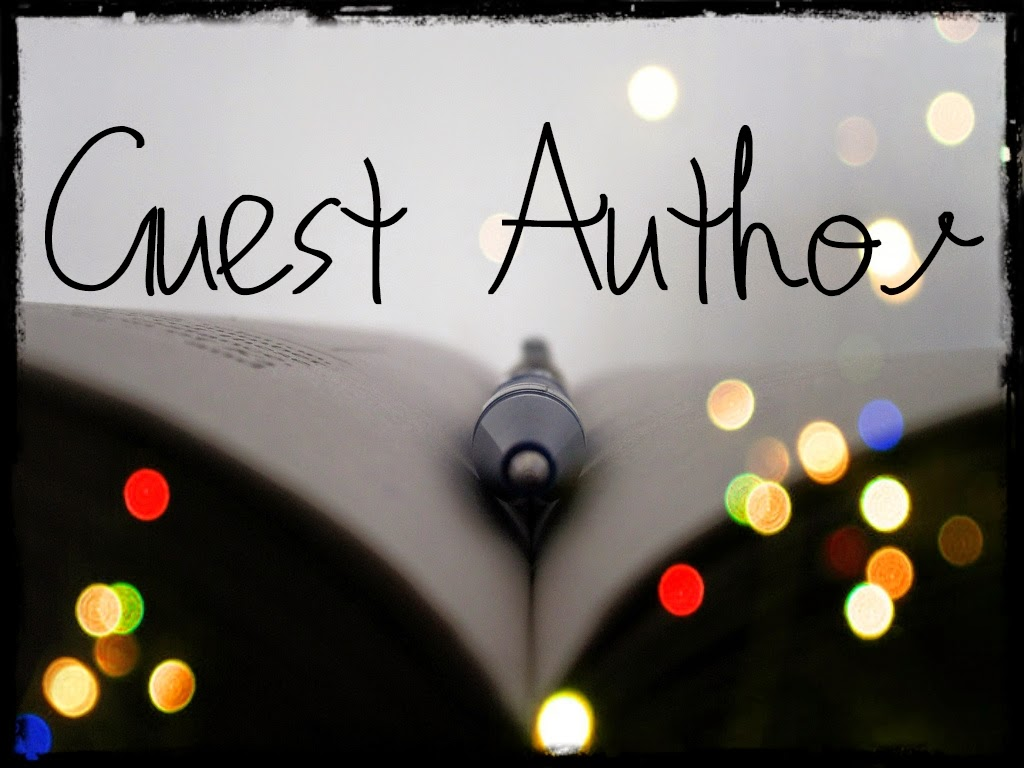 "Open book with a pen in the middle. The words ""Guest Author"" on top of the image."