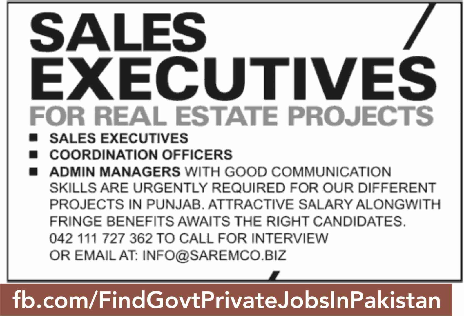 sales executive job opportunity