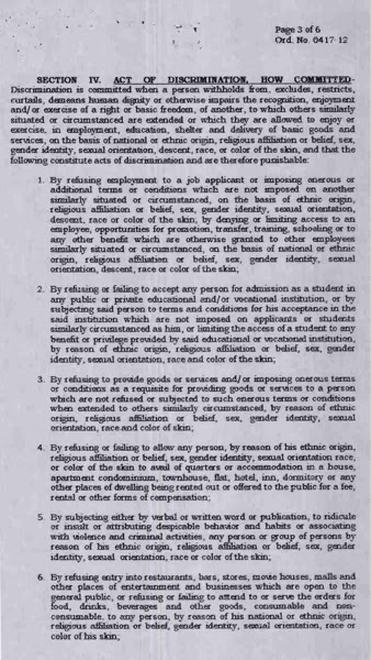 davao delights, davao city, unlawful, acts and conduct of discrimination based on sex, gender identity, sexual orientation, race, color, descent, nation or ethic origin and religious