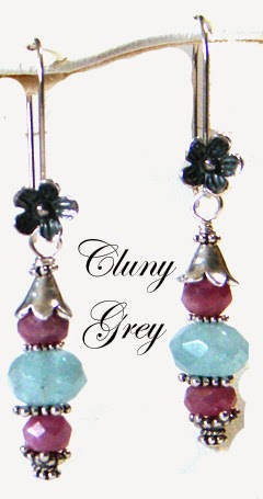 ruby earrings with sterling silver and aquamarines