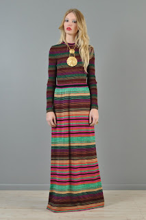 Vintage 1970's rainbow striped long sleeved hippie maxi dress