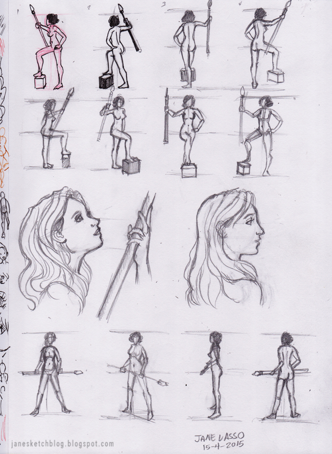 Dibujo gestual de poses a lápiz