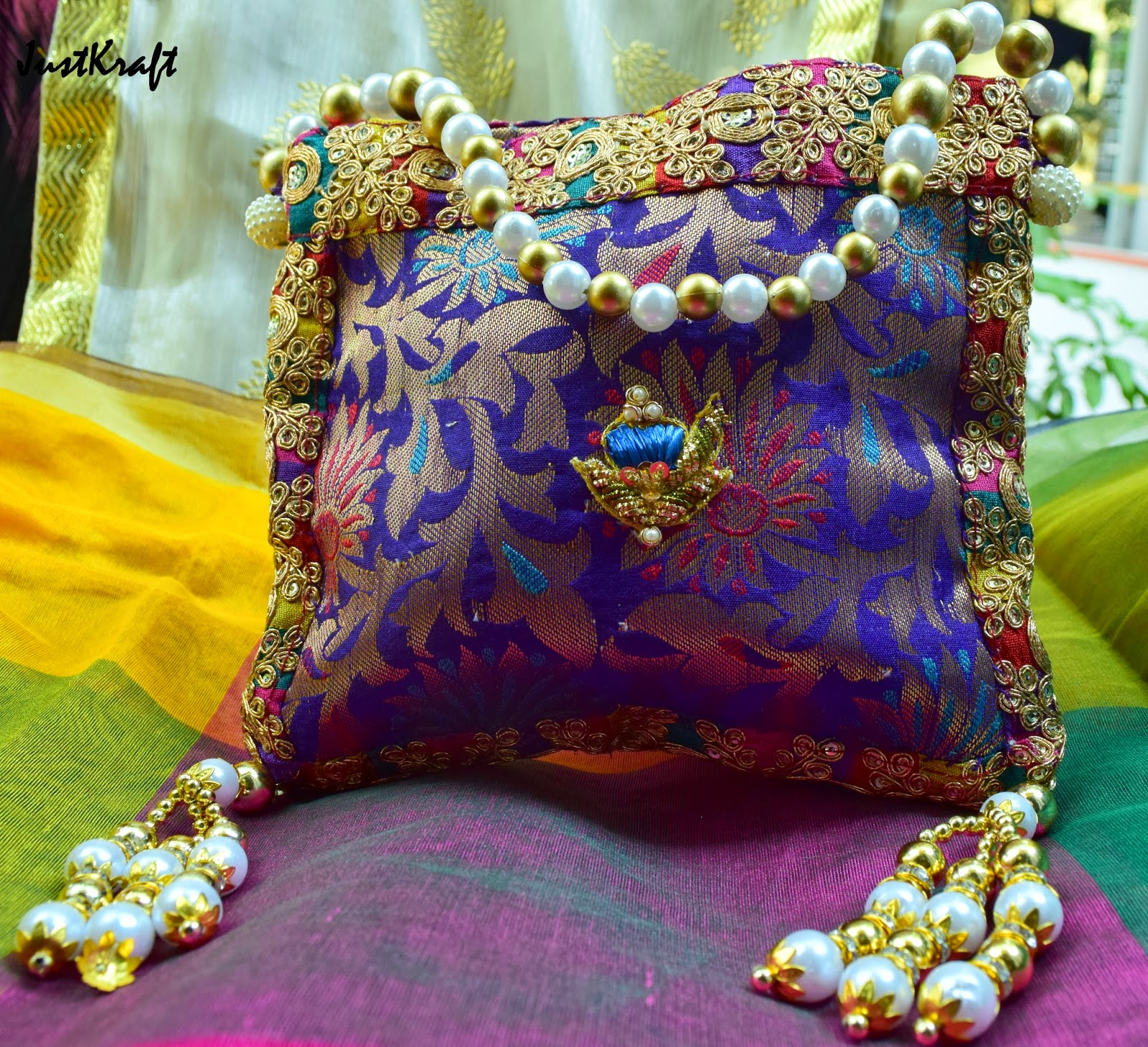 Designer Brocade Purse with moti handle